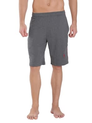 Charcoal Melange & Shanghai Red Knit Sport Shorts