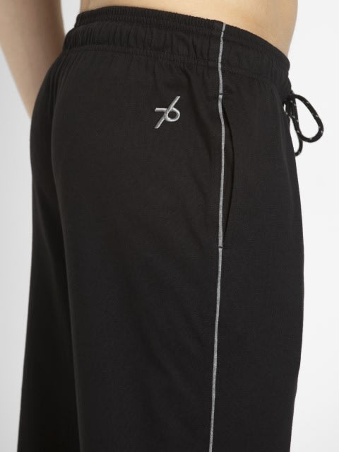 Black & Grey Melange Track Pant