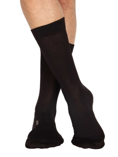 Black Men Calf Length Socks Pack of 3