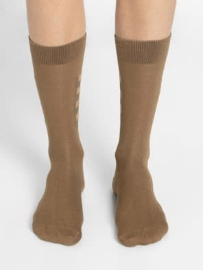 Ochre Brown Men Calf Length Socks