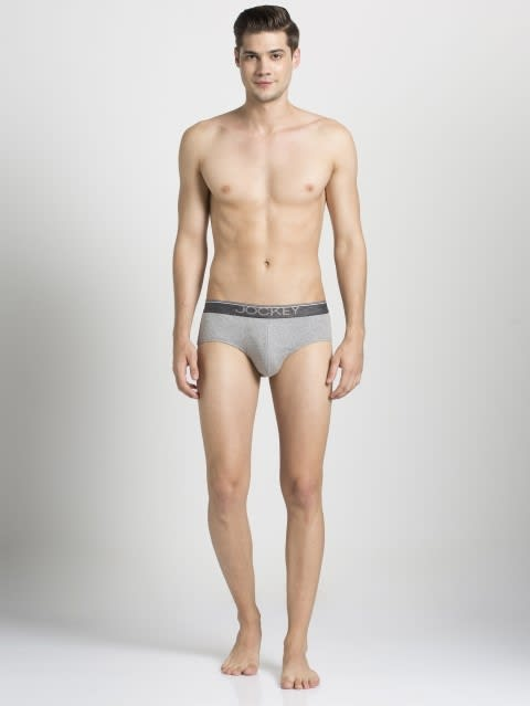 Grey Melange Square Cut Brief Pack of 2