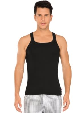 Black Square Neck Vest