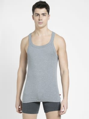 Grey Melange Square Neck Vest