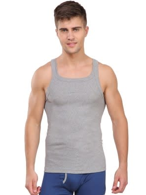 Grey Melange Square Neck Vest