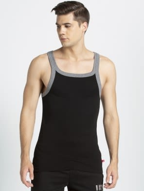 Black & Charcoal Melange Fashion Vest