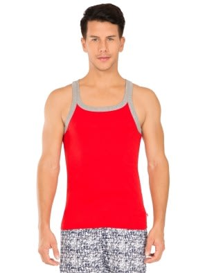 Red Bias & Grey Melange Fashion Vest