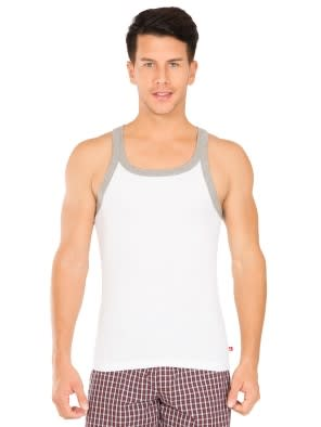White & Grey Melange Fashion Vest