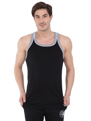 Black & Grey Melange Fashion Power Vest