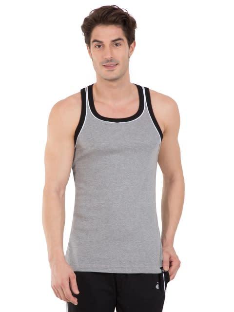 Grey Melange & Black Fashion Power Vest