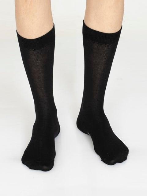 Jet Black Men Calf Length Socks