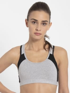 Light Grey Melange & Black Power Back Padded Active Bra