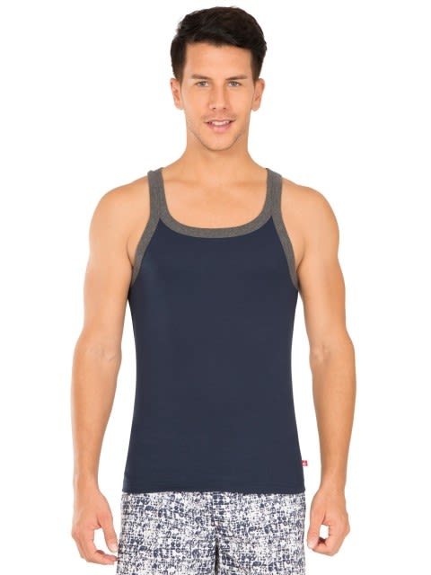 Navy & Charcoal Melange Fashion Vest