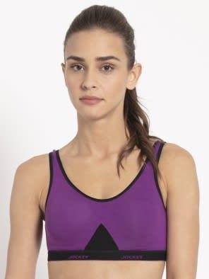 Purple Glory & Black Slip On Active Bra