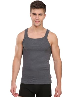 Charcoal Melange Square Neck Vest