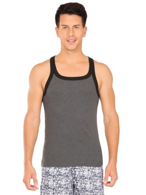 Charcoal Melange & Black Fashion Vest