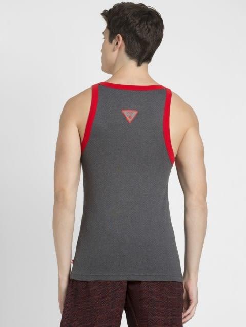 Charcoal Melange & Zone Red Fashion Vest