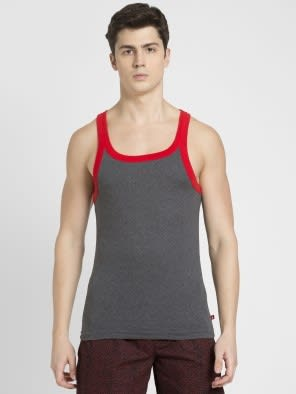 Charcoal Melange & Zone Red Fashion Vest