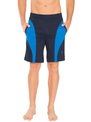 Navy & Neon Blue Knit Sport Shorts