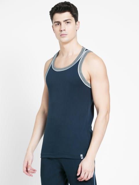 Navy & Grey Melange Fashion Power Vest