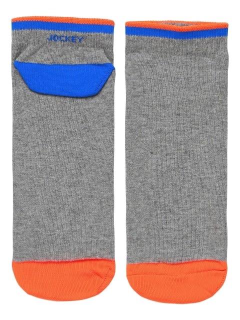 Grey Melange & Neon Orange Men Low Show Socks