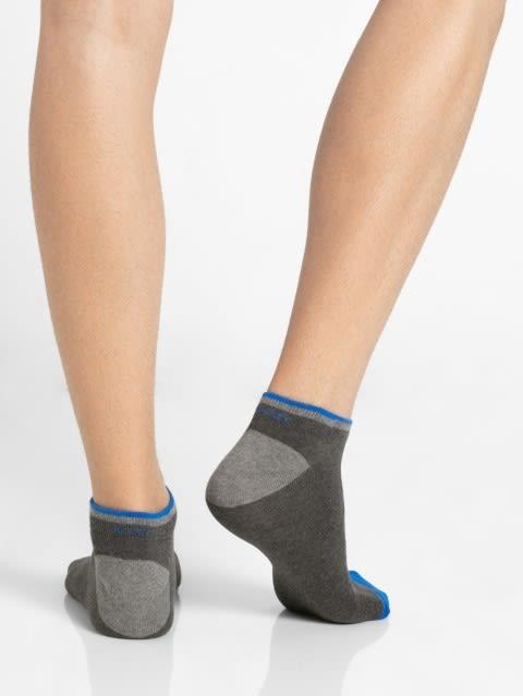 Charcoal Melange & Rich Royal Blue Men Low Show Socks