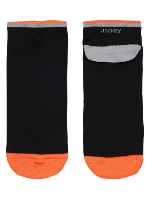Black & Neon Orange Men Low Show Socks