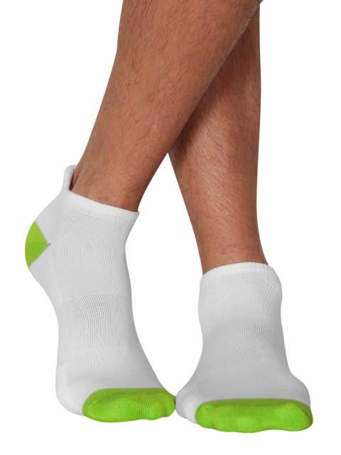 White & Performance Green Men Low Ankle Socks