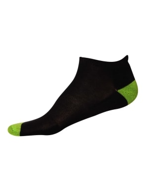 Black & Performance Green Men Low Ankle Socks