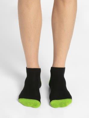 Black & Performance Green Men Low Ankle Socks