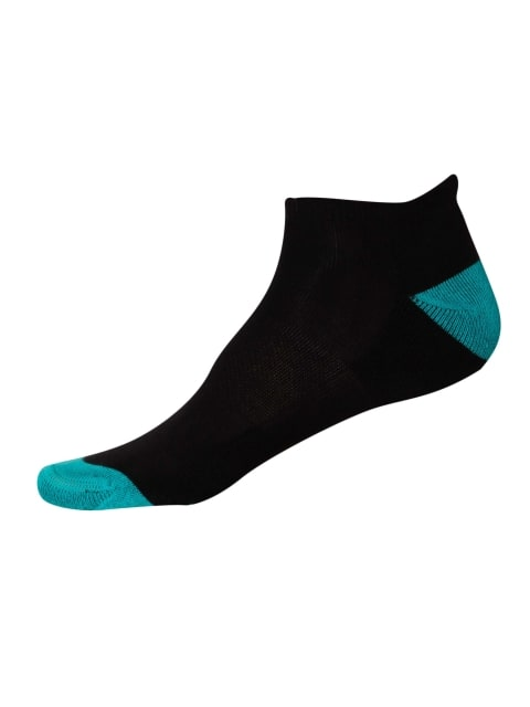 Black & Caribbean Turq Men Low Ankle Socks