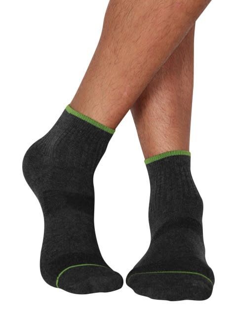 Charcoal Melange & Performance Green Men Ankle Socks