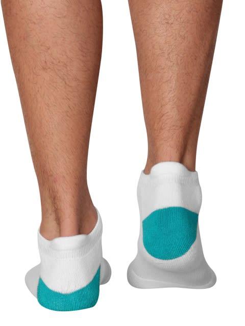 White & Caribbean Turq Men Low Ankle Socks