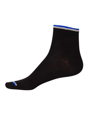 Black & Rich Royal Blue Men Ankle Socks