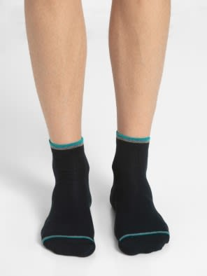 Navy & Teal Green Men Ankle Socks