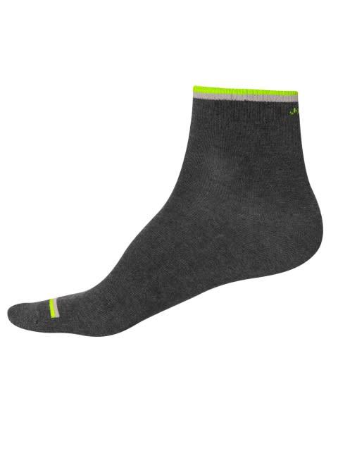 Charcoal Melange & Neon Yellow Men Ankle Socks