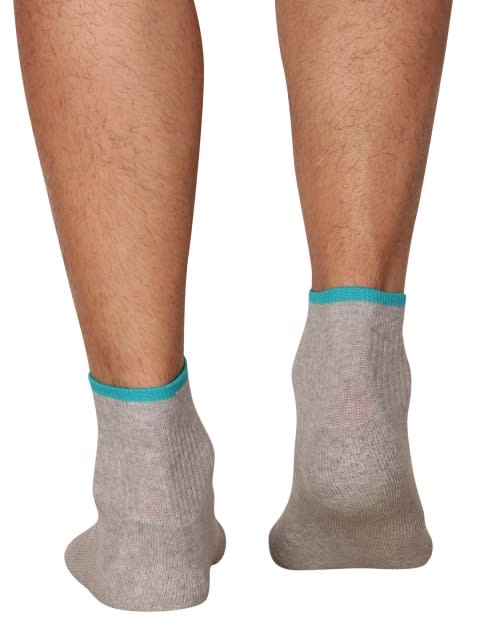 Grey Melange & Caribbean Turq Men Ankle Socks