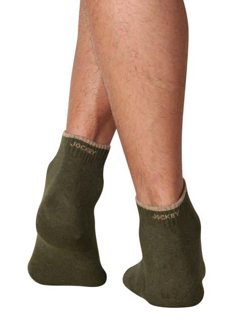 Green Melange Men Ankle Socks