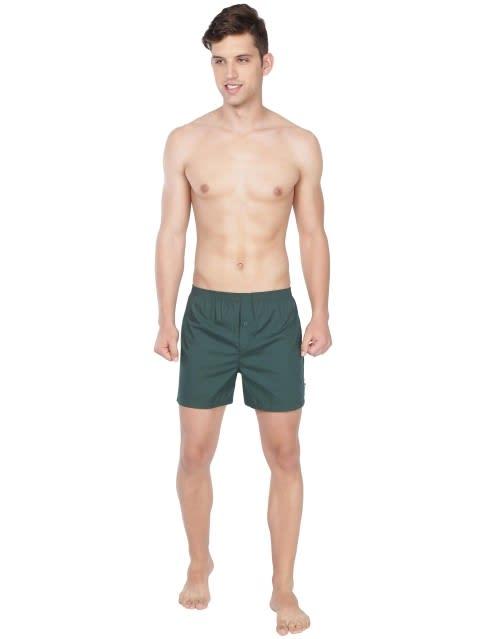 Bottle Green & Bottle Green Checks Boxer Shorts Pack of 2