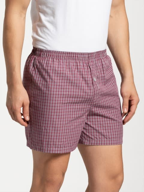 Graphite & Red Checks Boxer Shorts Pack of 2
