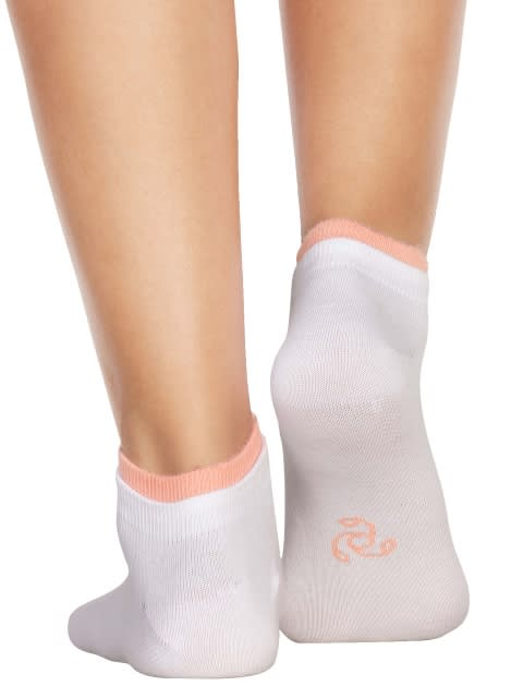 White & Apricot Blush Women Low ankle socks Pack of 2