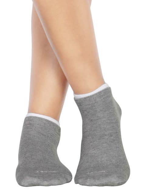 White & Light Grey Melange Women Low ankle socks Pack of 2