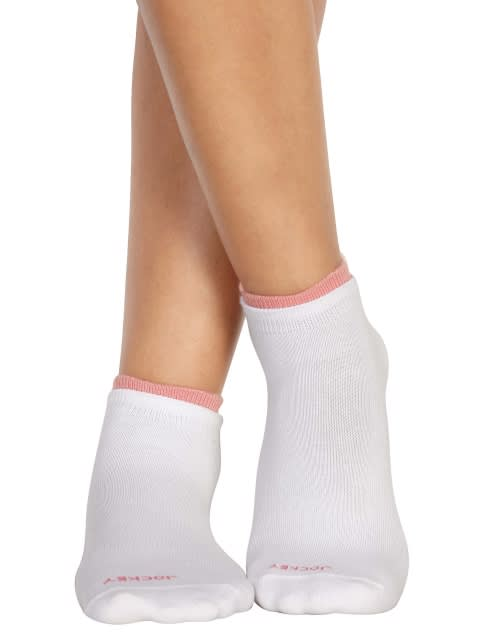 White & Peach Blossom Women Low ankle socks Pack of 2
