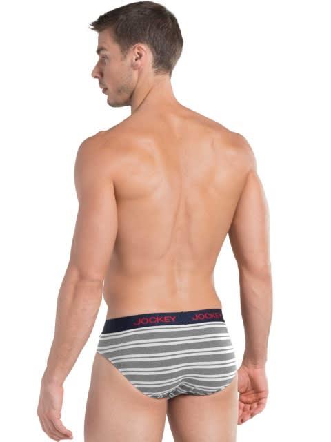 White & Grey Melange Striped Yarn dyed Brief