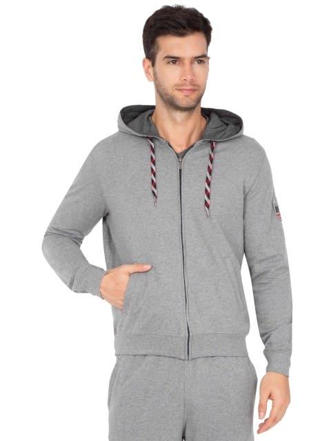 Grey Melange Zip Thru Hoodie