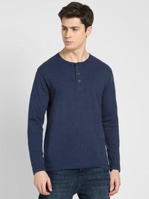 Ink Blue Melange Long Sleeve Henley T-Shirt