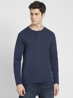Ink Blue Melange Long Sleeve Henley T-Shirt