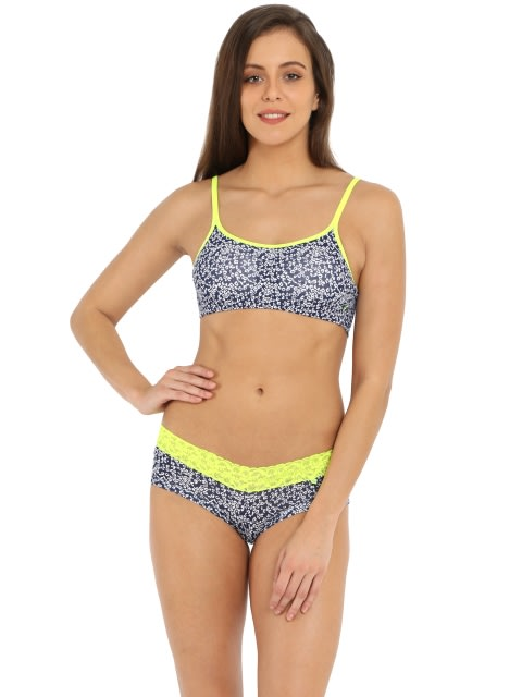 Imperial Blue & Neon Yellow Moulded Cami Bra