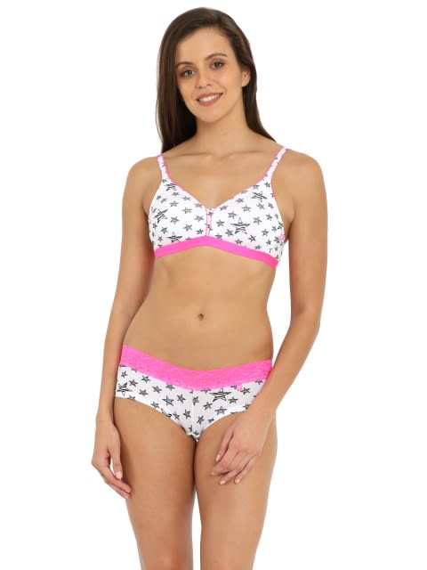 White & Pink Beginners Bra