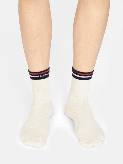 Cream Melange Men Ankle Socks