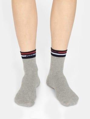 Grey Melange Men Ankle Socks